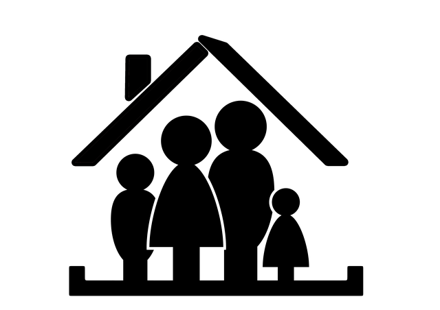 černobílá obrázek rodiny pod střechou