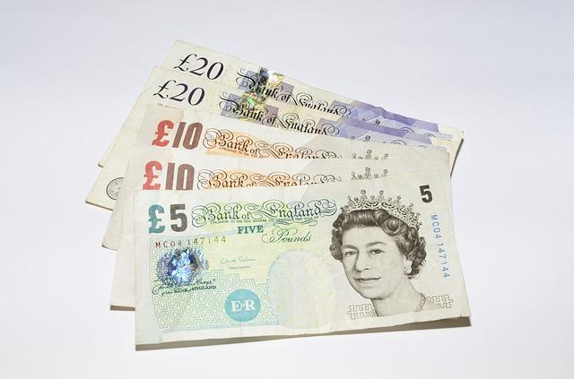 britská měna, libry, bankovky, královna