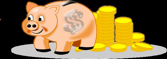 pokladnička, prasátko, mince